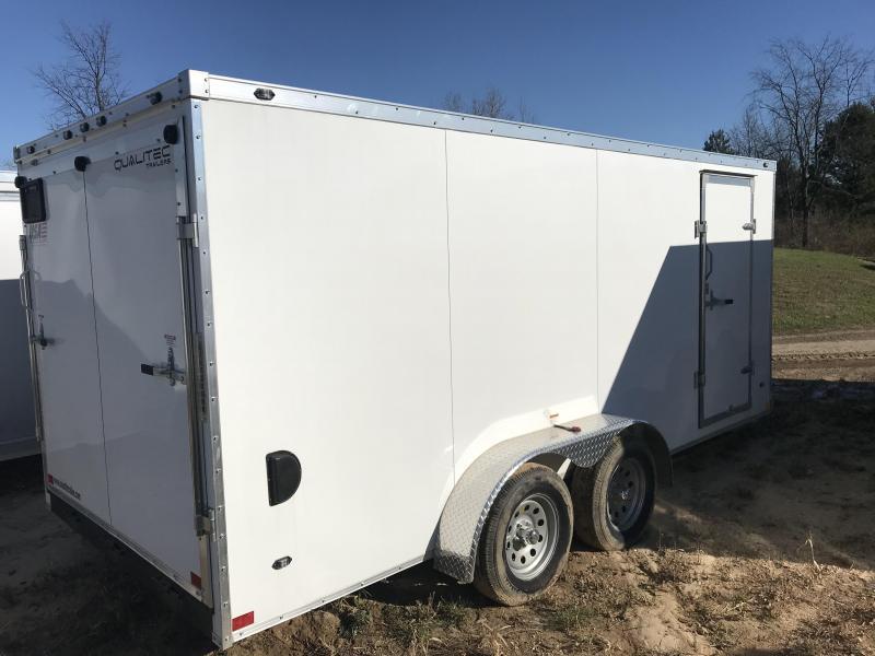 2019 Qualitec 7x14 White Ramp Enclosed Cargo Trailer