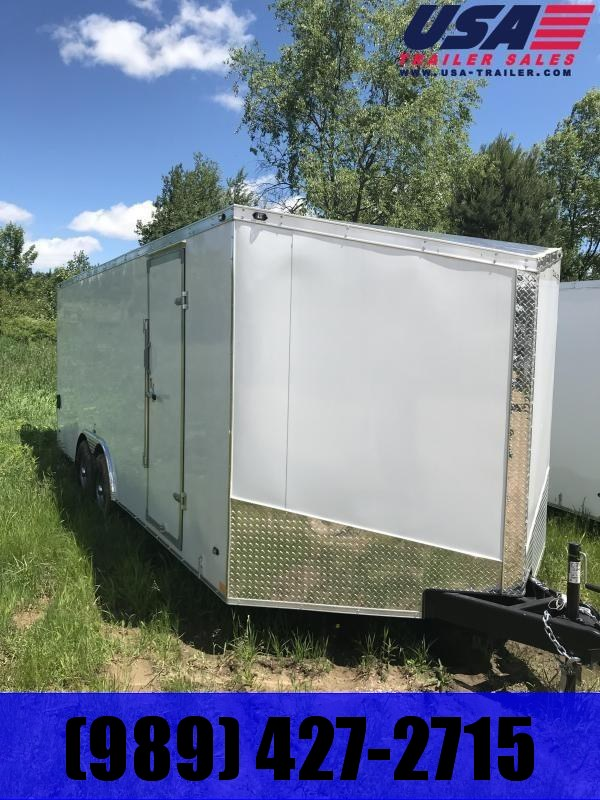 2019 Qualitec 8.5 x 18 White Ramp Enclosed Cargo Trailer