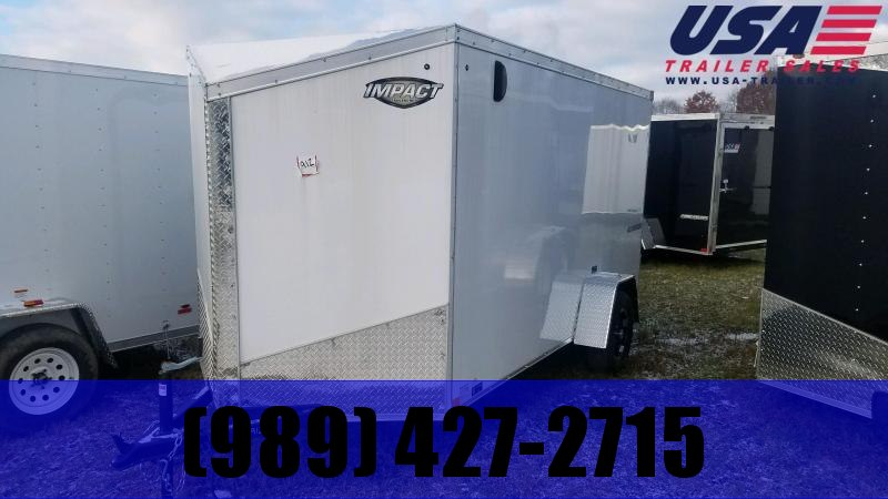 2019 Impact Trailers 6x10 White Ramp Enclosed Cargo Trailer
