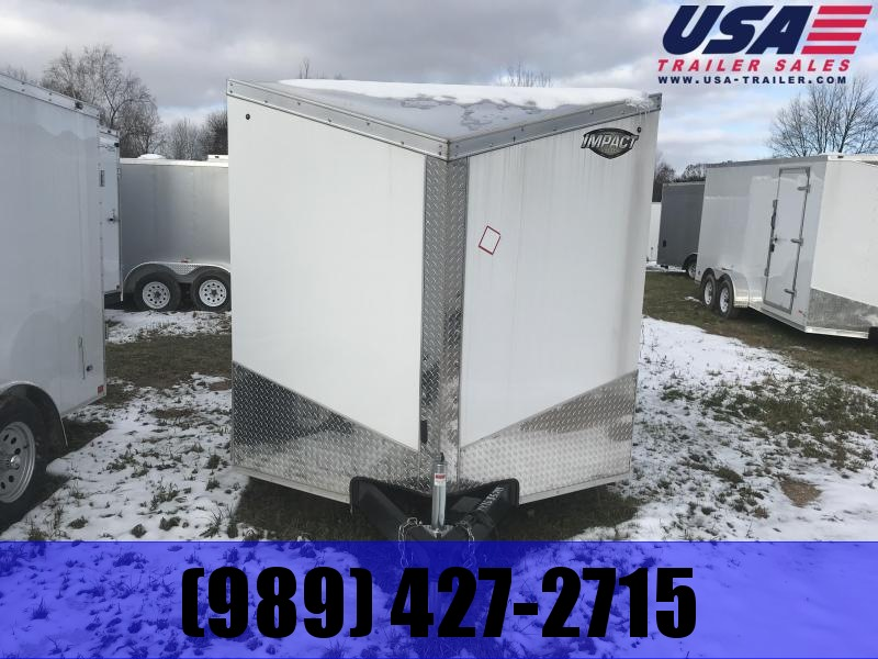 2019 Impact Trailers 7x16 White Ramp Enclosed Cargo Trailer