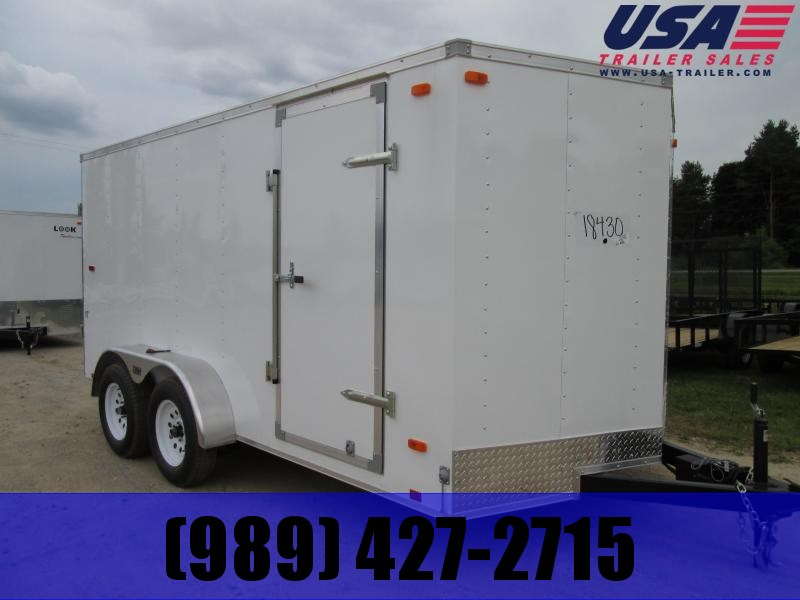 2019 Look Trailers 7x14 Tandem White Barn Doors Enclosed Cargo Trailer