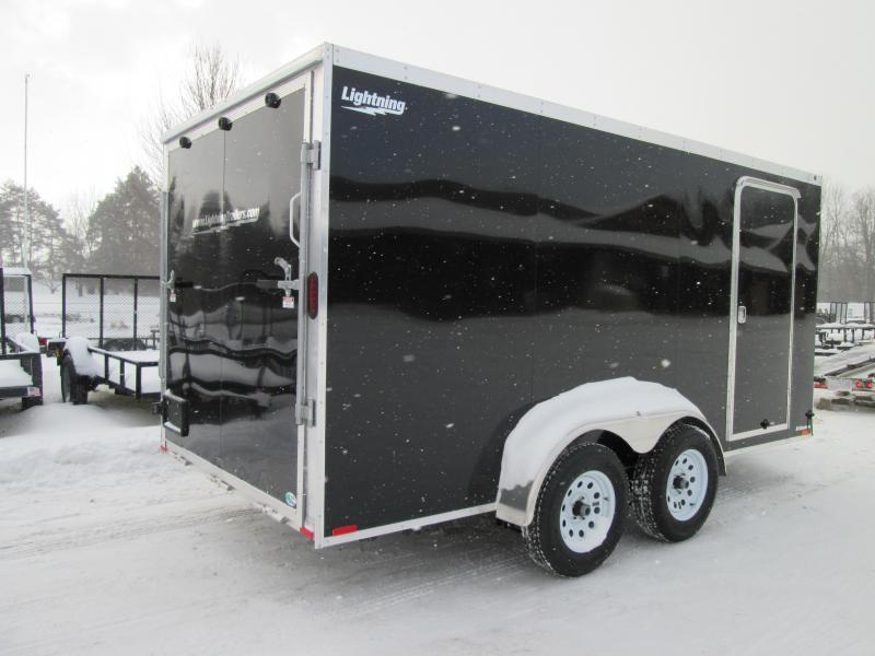 2019 Lightning Trailers 7x14 Black Ramp Enclosed Cargo Trailer