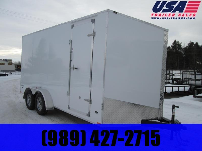 "2019 Qualitec 7 x 14 12"" ADDED White Enclosed Cargo Trailer"