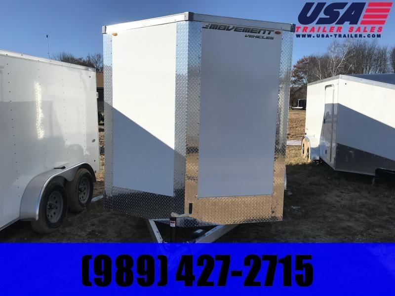 2019 MVM7 6x12 White Ramp Enclosed Cargo Trailer