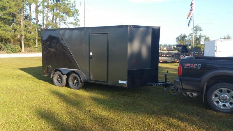 2019 ROCK SOLID CARGO(14000GVWR) (WHITE) (CARHAULER) 8.5x28 TA-7000LB Enclosed Cargo Trailer
