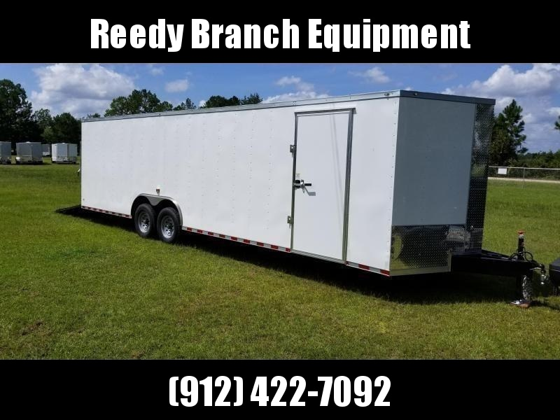 2019 ROCK SOLID CARGO(14000GVWR) (WHITE) (CARHAULER) 8.5x28 TA-7000LB Enclosed Cargo Trailer