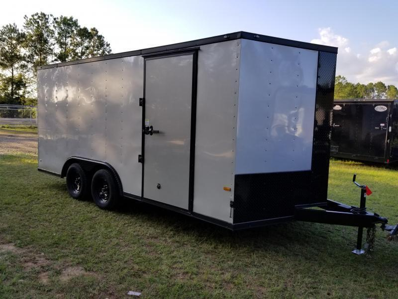 2019 ROCK SOLID CARGO(WHITE)(FACTORY PICKUP DIRECT) 8.5x16 CH-3500lb Enclosed Cargo Trailer