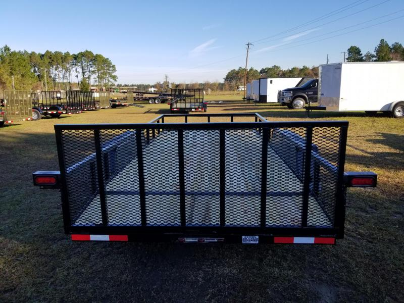 "2019 (16 FT) (7000GVWR)(BLACK)(UPGRADED HEAVY GAUGE 2""INCH TUBING SIDES)(DOVETAIL) Down 2 Earth Trailers DTE8216UT3.5B Utility Trailer"