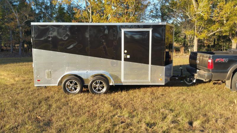 2019 ROCK SOLID CARGO (BLACKOUT EDITION)(WHITE/GRAY) 7x16TA Enclosed Cargo Trailer