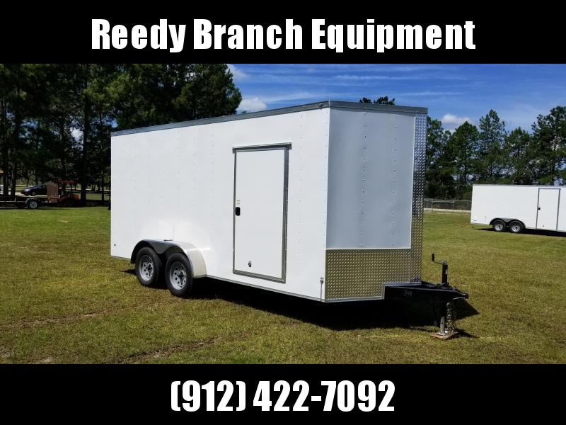 2018 ROCK SOLID CARGO  7X16TA2(BARN DOORS)(WHITE )(6.3FT)Enclosed Cargo Trailer