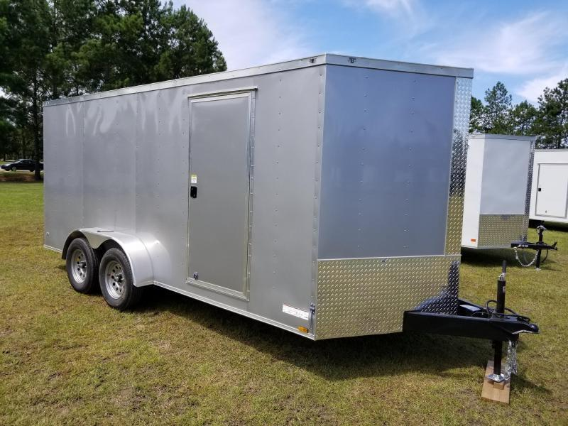 2019 ROCK SOLID CARGO  7X16TA2(BARN DOORS)(WHITE )(6.3FT)Enclosed Cargo Trailer