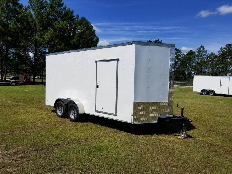 2018 ROCK SOLID CARGO  7X16TA2(BARN DOORS)(WHITE )(6.3FT)Enclosed Cargo Trailer