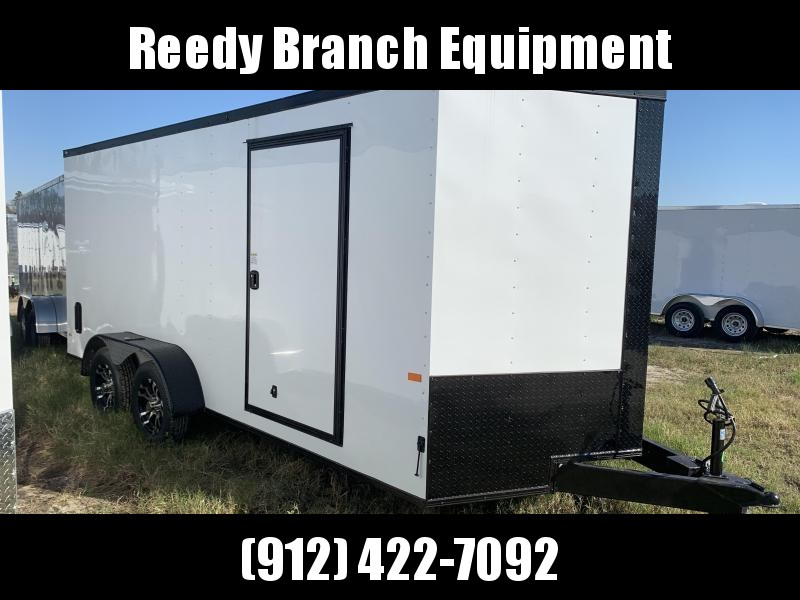 New 7x16 White Blackout Elite Rock Solid Cargo Enclosed Trailer