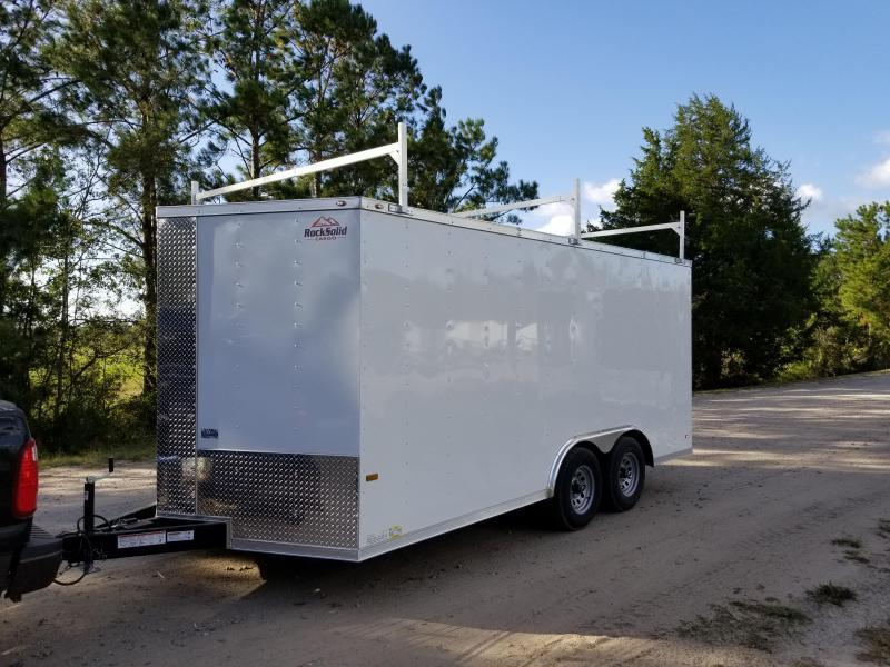 2019 ROCK SOLID CARGO(CARHAULER)6.6'HEIGHT) (WHITE) 8.5x24 CH-5200lb Enclosed Cargo Trailer
