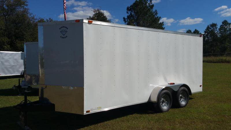 2018 ROCK SOLID CARGO(DOUBLE REAR DOORS) (WHITE) 7x14TA Enclosed Cargo Trailer