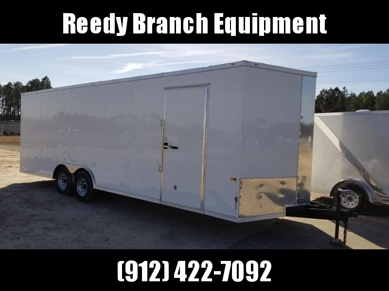 2019 (8.5X24)ROCK SOLID CARGO(CARHAULER)(EXTRA HEIGHT) (WHITE) 8.5x24 CH-5200lb Enclosed Cargo Trailer
