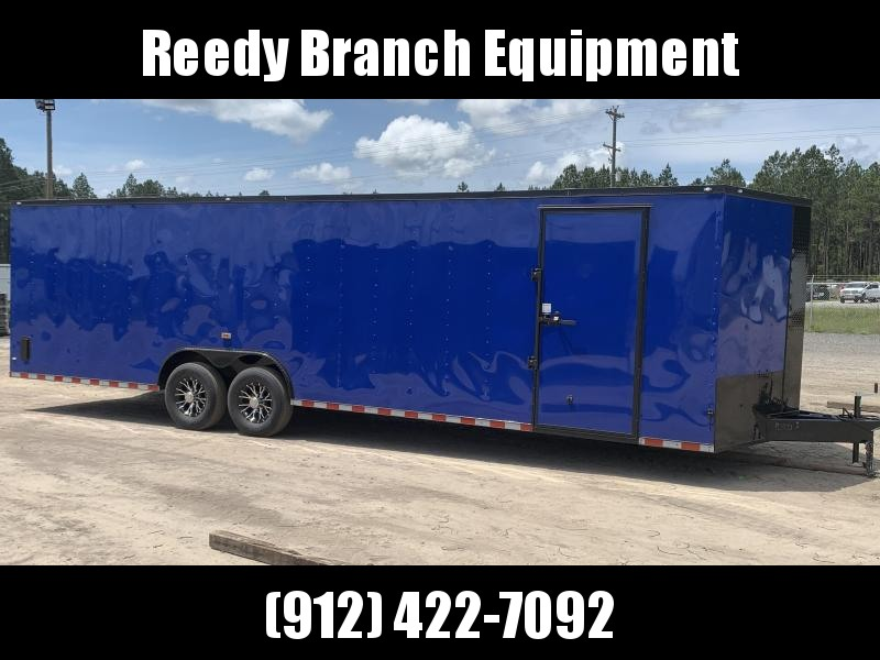 New 8.5x28-Electric Blue Blackout 14K-GVWR Enclosed Cargo Trailer $7399