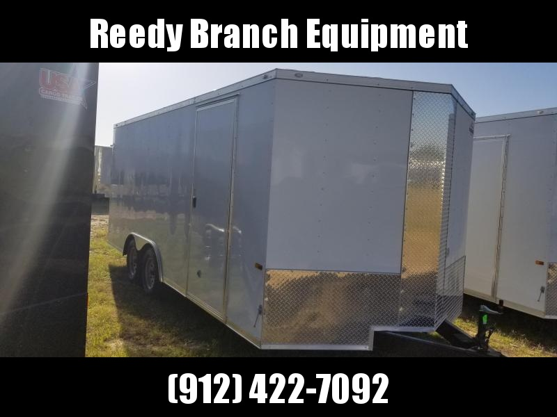 2019 ROCK SOLID CARGO(WHITE)(FACTORY PICKUP DIRECT) 8.5x18 CH-3500lb Enclosed Cargo Trailer