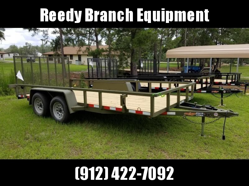 2019(OLIVE GREEN) 16 FOOT HEAVY DUTY 11 GAUGE TUBING RAILS (7000GVWR) Down 2 Earth Trailers DTE8216UT3.5B Utility Trailer