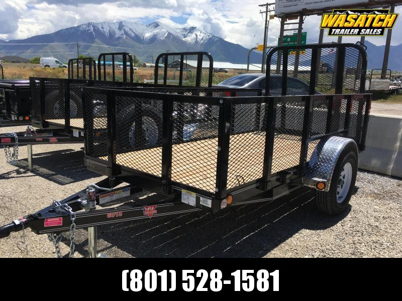 "PJ Trailers 60"" Single Axle Channel (U6) Utility w/ 2' Expanded Sides"