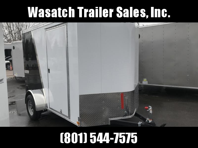 2019 Haulmark White and Black 6x10 Transport with Ramp Enclosed Cargo Trailer