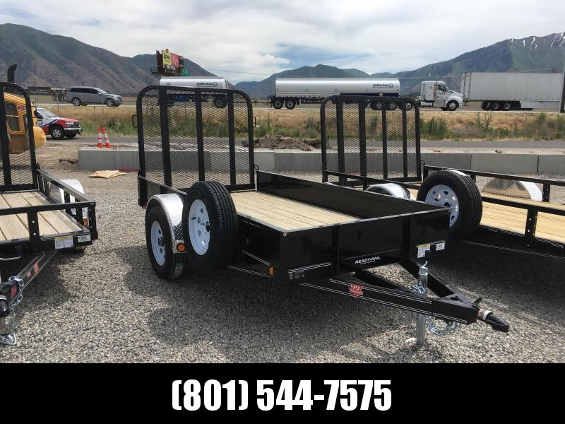 "PJ 5x10 Single Axle Channel Utility Trailer (U6) with 12"" Solid Sides"