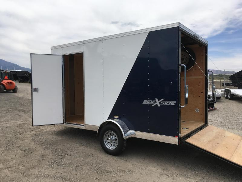 7x12 White & Blue Mirage Xpres Cargo Trailer with Side-by-Side Package