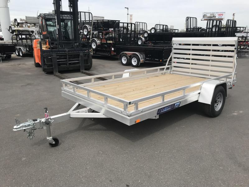 2018 Aluma 68in x 12ft Wood Deck Aluminum Utility Trailer