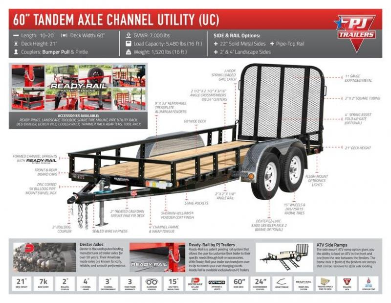 "2020 PJ Trailers 10' x 60"" Tndm Axle Channel Utility Trailer"