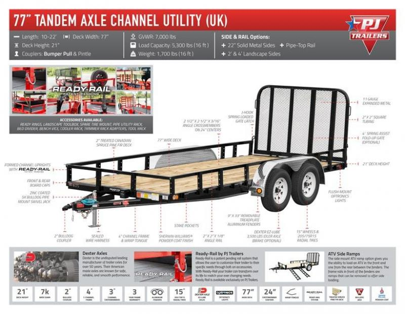 PJ 77x14 Tandem Axle Channel Utility (UK) Straight Deck w/ 4' Fold-up Gate
