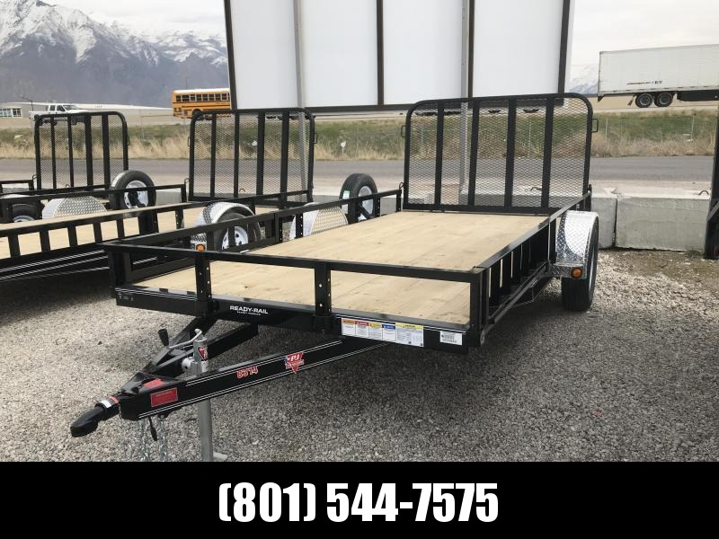 PJ 83x14 Single Axle Channel Utility Trailer (U8) with Side Ramps