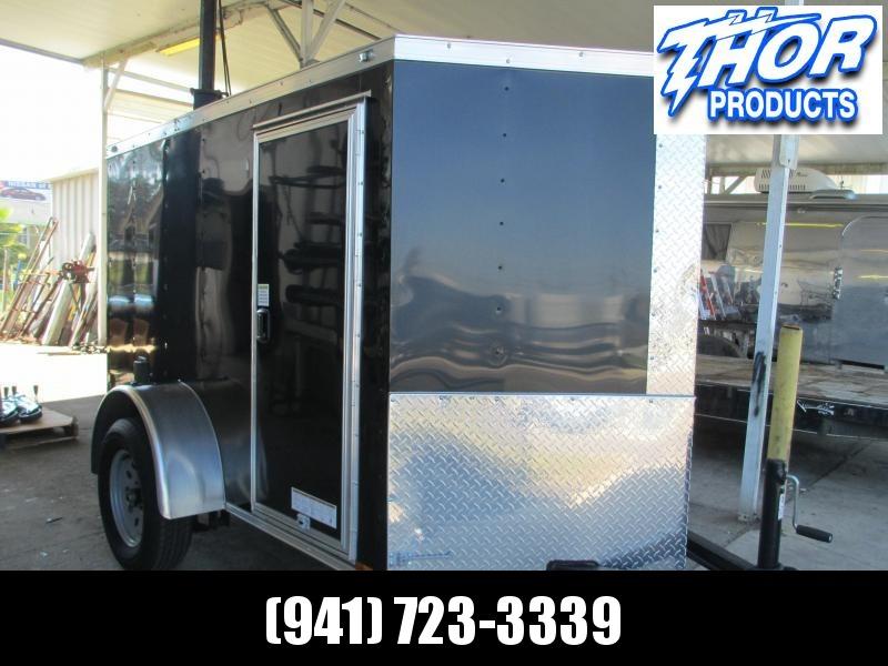 USED 5X8 Cargo Trailer Black V-nose w/Ramp motorcycle wheel chock D-rings