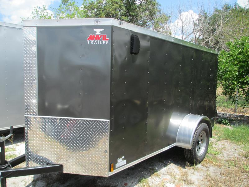 NEW 5x8 SA Enclosed Trailer V-nose side door ramp door Charcoal 4 tie downs
