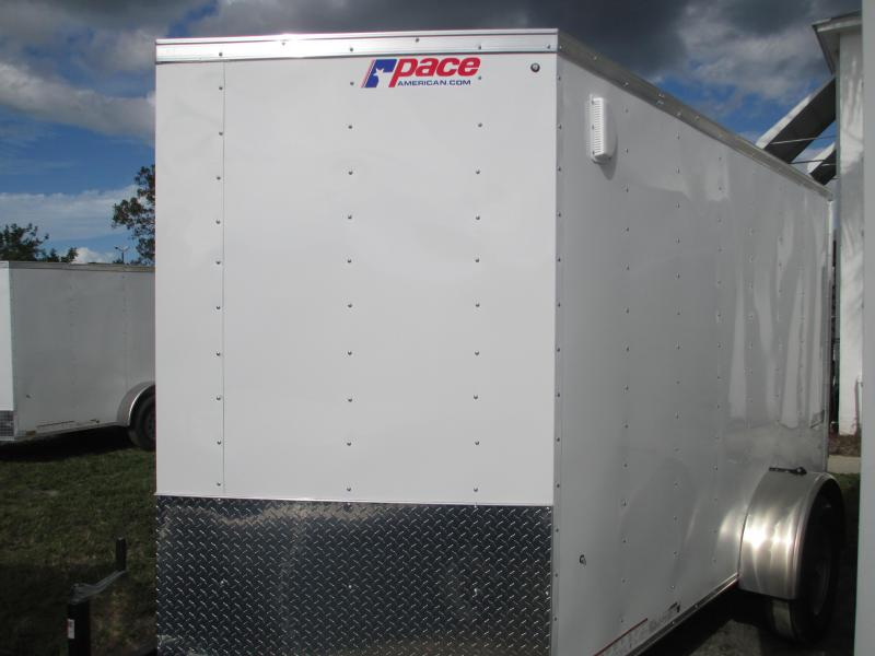 Pace 6 x 12 SA Trailer White Radial Tires 1 piece roof w/Ramp door