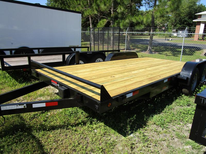 NEW 7X18 7K Car Hauling Trailer * Ramps * LED lights * Spare Mount