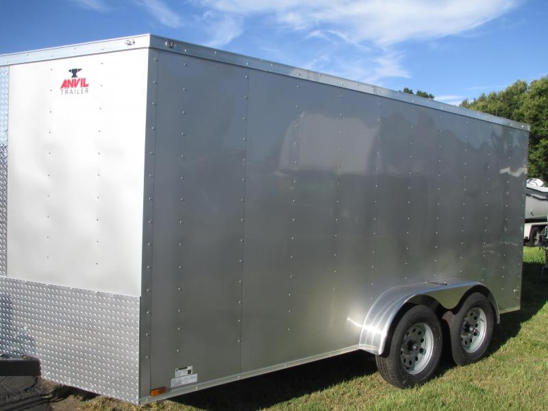 NEW 7 x 16 TA Enclosed Trailer V-nose * Ramp and Side Doors * Roof Vent