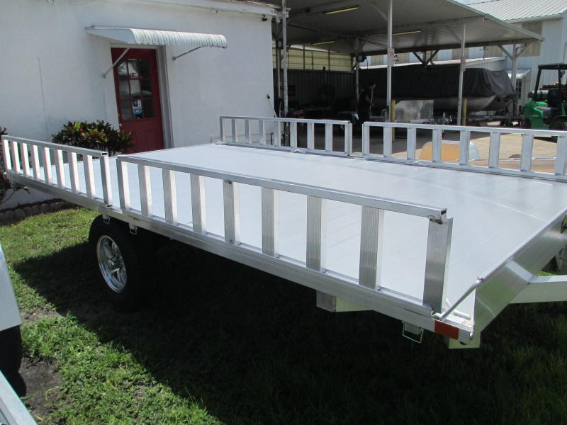 "NEW 7'4"" X 12'10"" 3 Place ATV Trailer - ALUMINUM W/Ramp Rails"