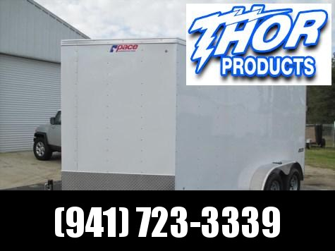 """Pace 7 x 14 TA Trailer V-nose White Ramp Radial Tires 6"""" extra Height"""