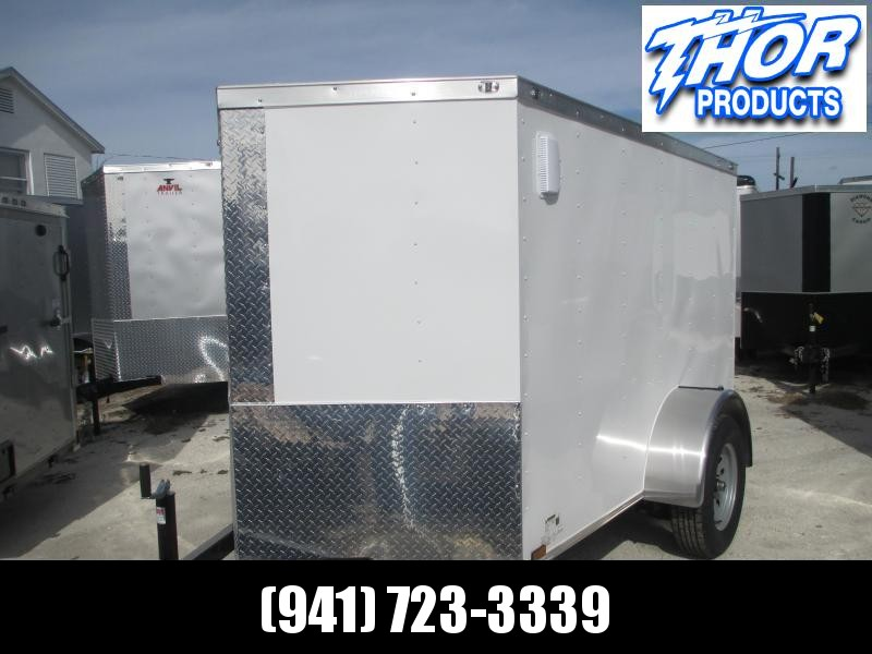 NEW 5x8 SA Enclosed Trailer V-nose side door and double rear doors WHITE