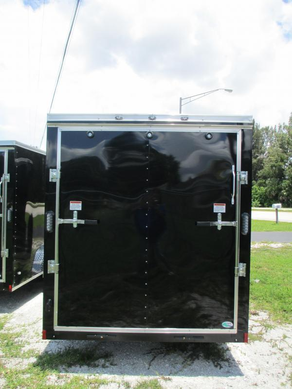 NEW 6X12 .030 BLACK TRAILER W/SIDE DOOR  AND REAR RAMP