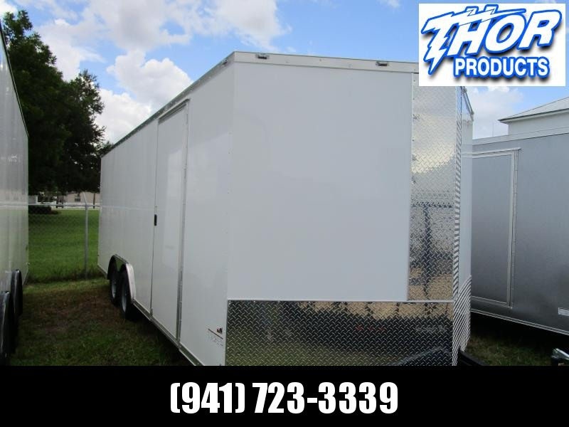 """8.5 X 20 V-nose 7K Car / Racing Trailer White w/60"""" tongue and Ramp"""