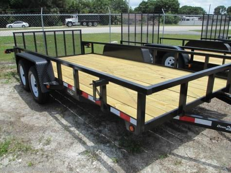 """6'4"""" x 14 TA Utility Trailer with Tube Top 2 axle brakes and rear Ramp"""