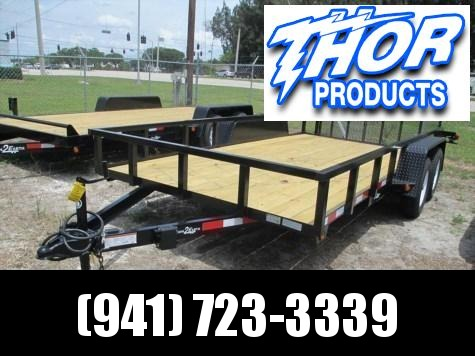 "6'4"" x 14 TA Utility Trailer with Tube Top 2 axle brakes and rear Ramp"