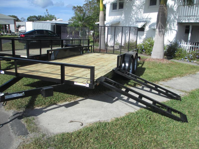 NEW 7x16 TA ATV TRAILER w/side and rear ramps and 1 axle brake