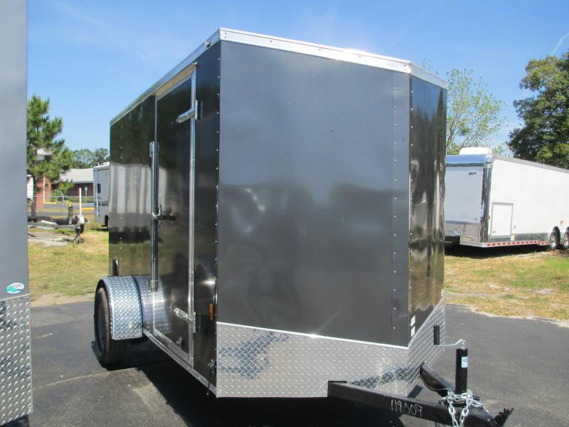 NEW 6X12 WEDGE NOSE .030 BLACK TRAILER W/SIDE DOOR  AND REAR RAMP