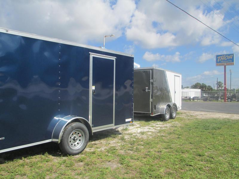 NEW 6 x 12 SA Trailer BLUE w/Ramp & side door RADIALS