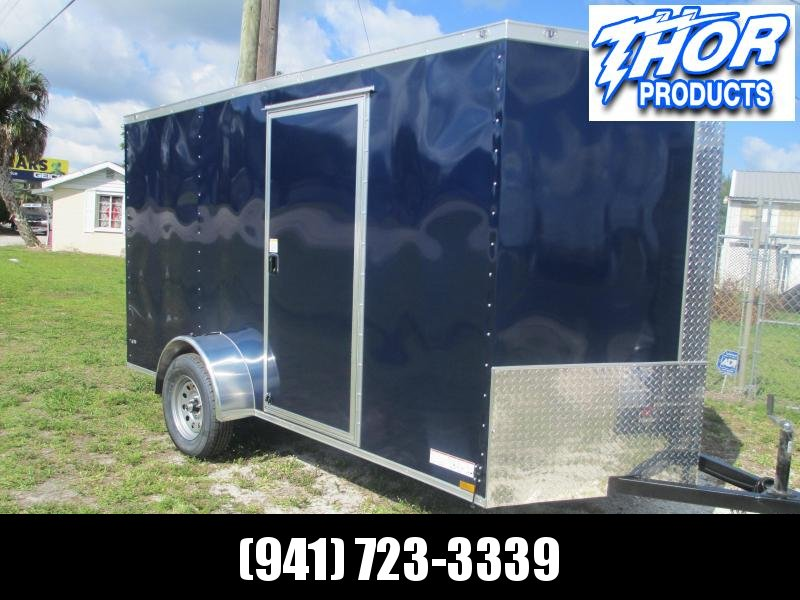 NEW 6 x 12 SA Trailer BLUE w/Ramp & side door RADIALS