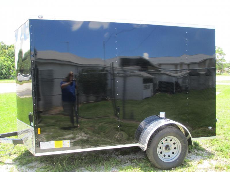 NEW 6X10 .030 BLACK TRAILER W/SIDE DOOR  AND REAR RAMP