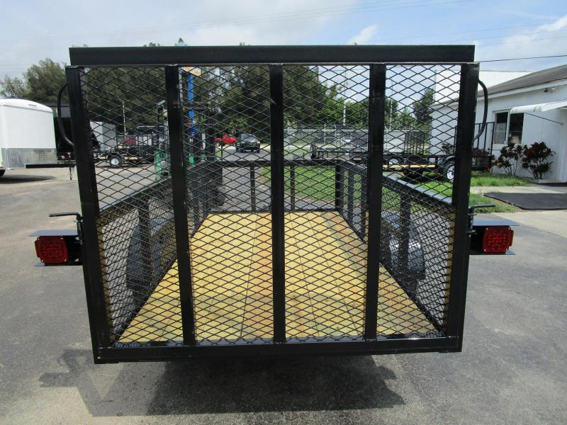 5x10 S/A Trailer w/Tube Top * LED lights * Ramp * 2' mesh sides