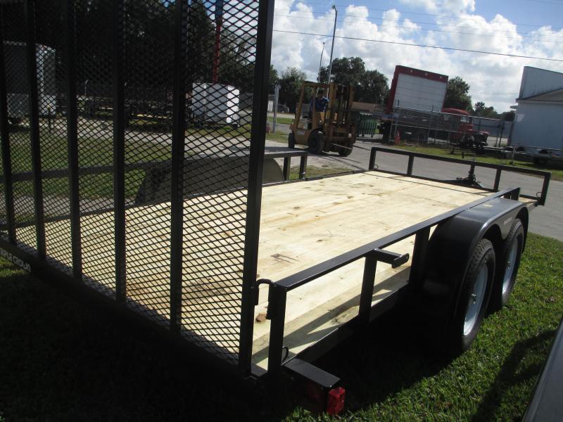 NEW 7X16 TA ATV TRAILER W/1 brake axle Side and Rear Ramps